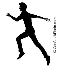 giovane, correndo, silhouette