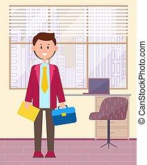 giovane, divertente, posto, ufficio, lavoro, businessman., ...