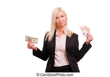 giovane, donna affari, presa a terra, euro, in, uno, mano, e, dollari, in, ano
