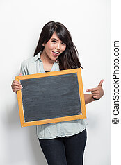 giovane, donna asiatica, presa a terra, vuoto, nero, asse