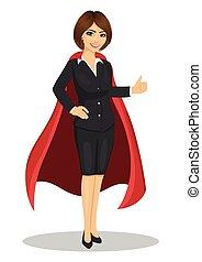 giovane, donna d'affari, il portare, superhero, costume, esposizione, pollici