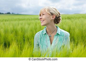 giovane, donna felice