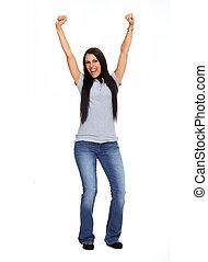 giovane, donna felice, il portare, jeans, e, tshirt.