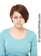 giovane, donna giapponese, umore difettoso