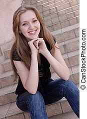 giovane, donna sorridente