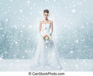 giovane, e, bello, sposa, standing, con, il, bouquet fiore, sopra