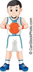 giovane, energetico, pallacanestro, gioco, uomo