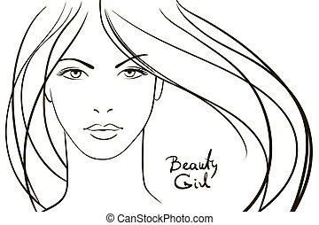giovane, faccia, con, lungo, capelli biondi