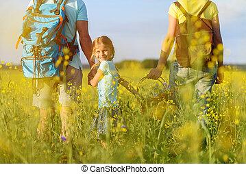 giovane famiglia, andando gita, su, montagna