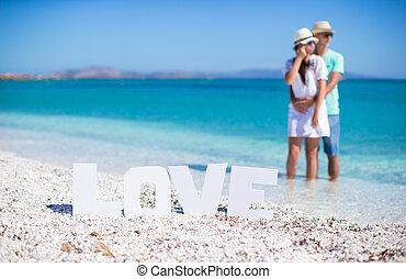 giovane, famiglia felice, spiaggia, durante, vacanza estate