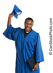giovane, felice, africano americano maschio, laureato, studente