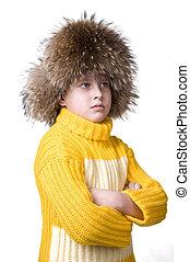 giovane, felice, ragazzo, in, cappello pelliccia