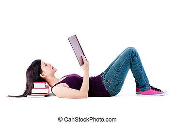 giovane, femmina, lettura, con, testa, rimanendo, libri