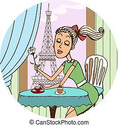 giovane, francese, ragazza, sognare, di, amore, sopra, caffè