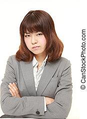 giovane, giapponese, donna d'affari, umore difettoso