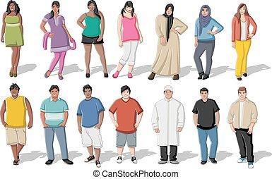 giovane, grasso, persone