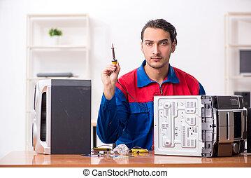 giovane, hi-fi, ingegnere, musicale, riparare, sistema