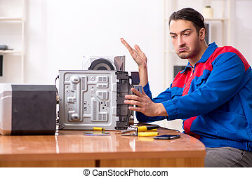 giovane, hi-fi, sistema, riparare, musicale, ingegnere