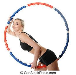 giovane, idoneità, donna, con, cerchio hula, isolato