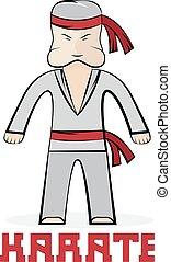 giovane, illustrazione, karate, vettore, cartone animato, uomo
