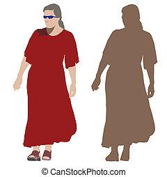 giovane, in, lungo, vestito rosso