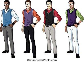 giovane, indossare, studente, uomo, casuale, formale