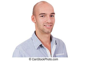 giovane, isolato, attraente, uomo affari, ritratto, sorridente, adulto