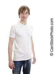 giovane, isolato, t-shirt, jeans., white., bianco, casuale, uomo