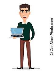 giovane, laptop., presa a terra, uomo affari, sorridente, bello, casuale, far male, vestiti