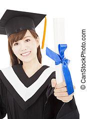 giovane, laureato, studente ragazza, presa a terra, e, esposizione, diploma