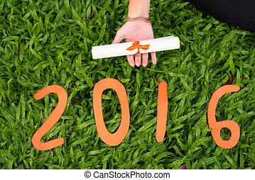giovane, mano donna, presa a terra, diploma, con, 2016, segno