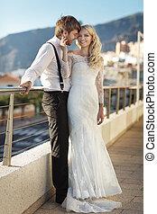 giovane, matrimonio, coppia, durante, loro, luna miele