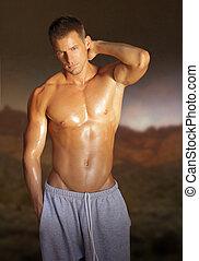 giovane, muscolare, maschio, modello