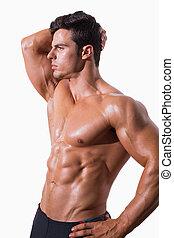 giovane, muscolare, shirtless, uomo