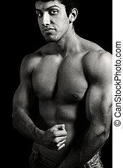 giovane, muscolare, uomo, tenace