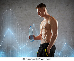 giovane, o, culturista, con, bottiglia acqua