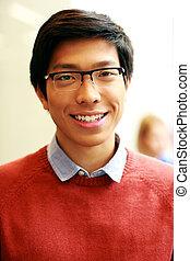 giovane, occhiali, asiatico, ritratto, uomo, felice