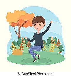 giovane, paesaggio, uomo saltando, erba, natura
