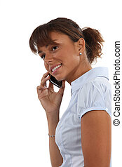 giovane, parlare, su, lei, telefono mobile