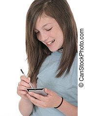 giovane, pre, ragazza adolescente, usando, pda