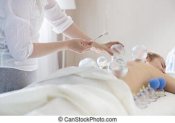 giovane, prendere, trattamento, a, clinica medica