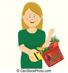 giovane, presa a terra, uno, cesto, pieno, di, verdura, e, frutte, dare, uno, carta credito
