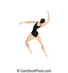 giovane professionale, ballerina, ballo, balletto classico, ballerino, in, nero, leotard, vettore, illustrazione, su, uno, sfondo bianco