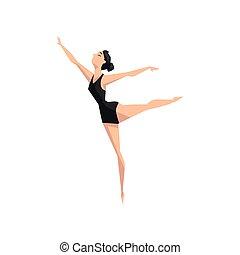 giovane professionale, ballerina, ballo, balletto classico, ballo, classe, vettore, illustrazione, su, uno, sfondo bianco
