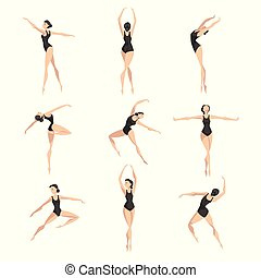 giovane professionale, ballerina, ballo, set, balletto classico, ballerino, in, nero, leotard, vettore, illustrazione, su, uno, sfondo bianco