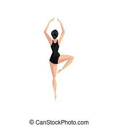 giovane professionale, ballerina, in, nero, leotard, balletto classico, ballerino, vettore, illustrazione, su, uno, sfondo bianco