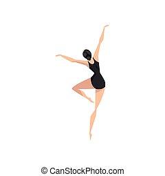 giovane professionale, ballerina, in, nero, leotard, ballo, balletto classico, ballo, classe, vettore, illustrazione, su, uno, sfondo bianco
