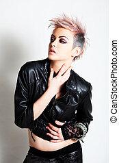 giovane, punk, abbigliamento, attraente, donna