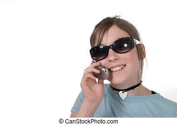 giovane, ragazza adolescente, con, cellphone, 7a