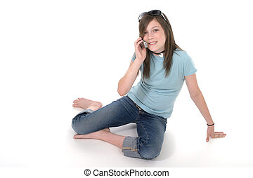 giovane, ragazza adolescente, parlare, su, cellphone, 1